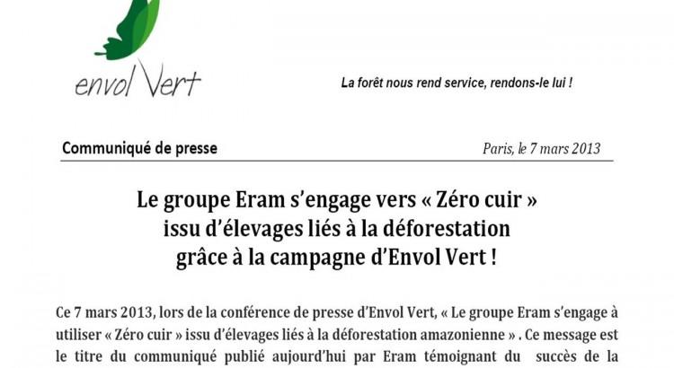 """Eram s'engage pour """"zéro cuir"""" issu d'élevages liés à la déforestation"""