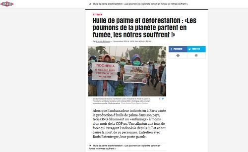 Libération, Huile de palme et déforestation