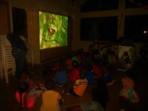 Educating local children with a screening of Colombia: Wild Magic