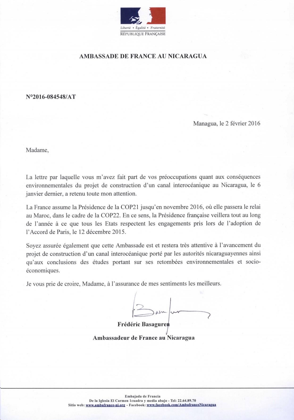 Courrier réponse ambassade Canal Nicaragua
